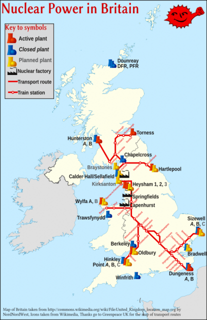 Nuclear Power in Britain: Map of past, present, and planned nuclear power stations in Britain. Map based on Wikipedia, icons based on Wikimedia. For an svg version of the map, click on the map image